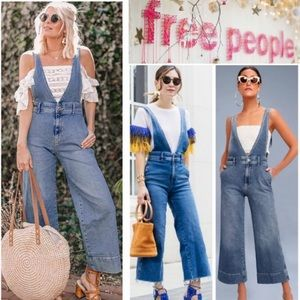 Like New! Free People A-Line Washed Denim Overalls